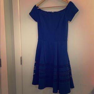 Francesca's Off-The-Shoulder Dress Blue
